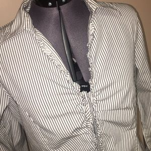 Talbots Button Up ruffle striped blouse top 10